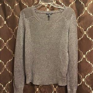 Eileen Fisher Metallic Silver Knit Sweater